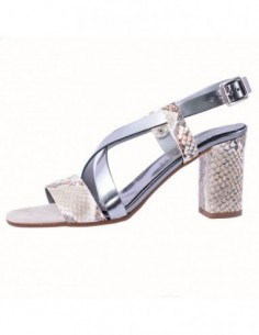 Sandale dama, piele naturala, marca Karisma, Cod B689-18-103, culoare argintiu