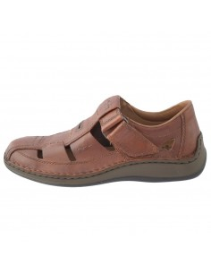 Sandale barbati, din piele naturala, marca Rieker, 05284-24-19-02-22, maro