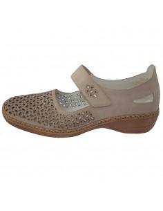 Pantofi dama, din piele naturala, marca Rieker, 413G8-62-B2-22, taupe