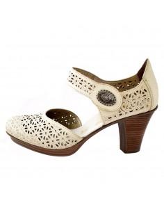 Pantofi dama, din piele naturala, marca Rieker, 47355-19-03-22, bej