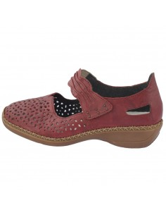 Pantofi dama, din piele naturala, marca Rieker, 41399-35-05-22, rosu
