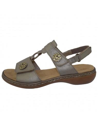 Sandale dama, din piele naturala, marca Rieker, 65974-90-17-22, bronz