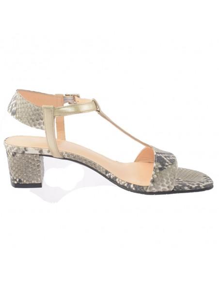 Sandale dama, din piele naturala, marca Brenda Zaro, T2697S-40-84, Kaki