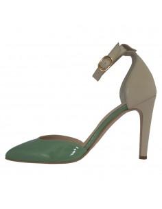 Pantofi dama, piele naturala, marca Guban, Cod 1057-03-06-07, culoare bej cu verde