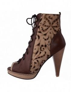 Pantofi dama, din piele naturala, marca Le Scarpe, 2012-M9-85, bej cu maro