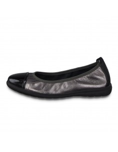 Balerini dama, din piele naturala, marca Jana, 8-22100-23-N-48-09, negru/argintiu