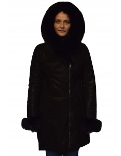 Cojoc dama din blana naturala, din piele naturala, marca Viva, R3-01-19-141, negru
