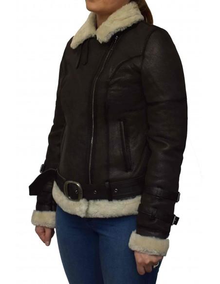 Cojoc dama din blana naturala, din piele naturala, marca Viva, M10-C4-19-141, maro inchis