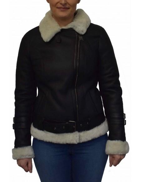 Cojoc dama din blana naturala, din piele naturala, marca Viva, M10-01-19-141, negru