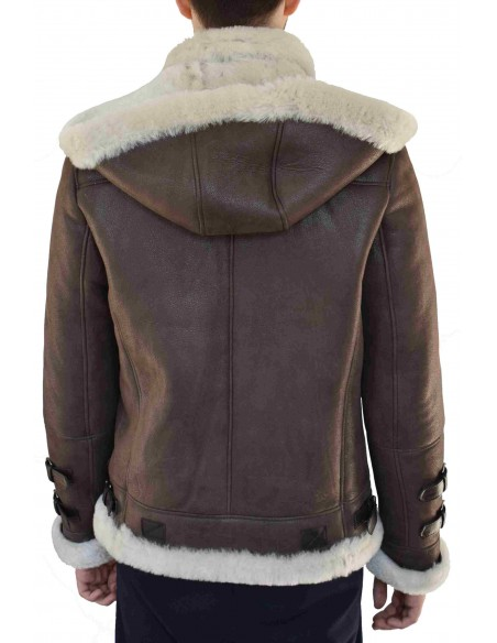 Cojoc barbati din blana naturala, din piele naturala, marca Viva, E1-C4-19-141, maro inchis