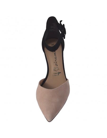 Pantofi vara dama, din piele naturala, marca Tamaris, 1-24422-24-70-O-10, negru/bej