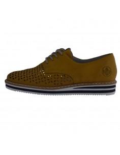Pantofi dama, din piele naturala, Rieker, NO215-68-08-O-22, galben
