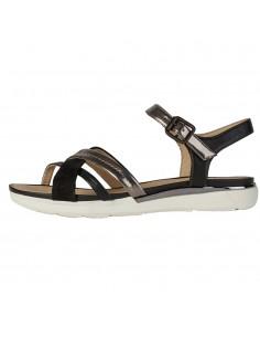Sandale dama, din piele naturala, Geox, D02GZA-C9247-48-O-06, negru/argintiu