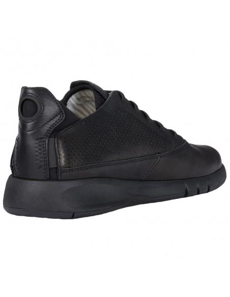 Adidasi barbati, din piele naturala, Geox, U927FA-C9999-01-P-06, negru