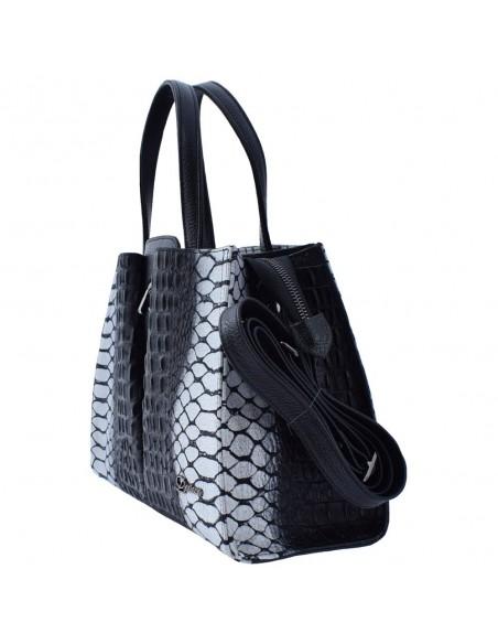 Geanta dama, din piele naturala, marca Desisan, 6043-K9-P-26, negru imprimat