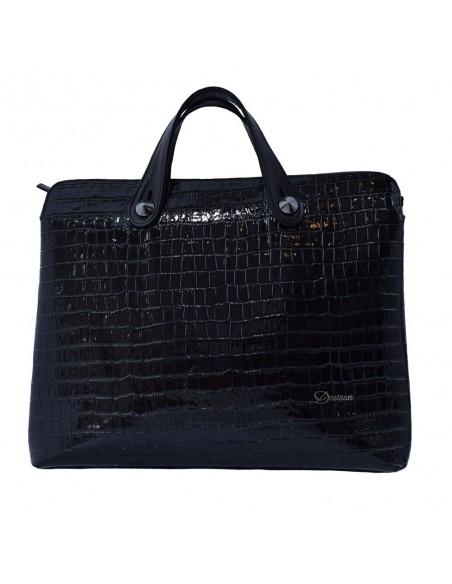 Geanta dama, din piele naturala, marca Desisan, 2839-K9-P-26, negru imprimat