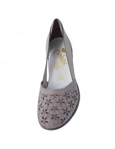 Pantofi dama, din piele naturala, marca Rieker, 40986-64-14-21-22, gri
