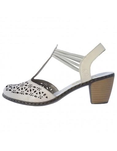Pantofi dama, din piele naturala, marca Rieker, 40969-80-52-21-22, crem