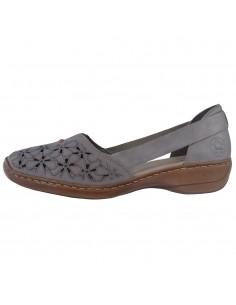 Pantofi dama, din piele naturala, marca Rieker, 41356-64-46-21-22, caffe