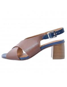 Sandale dama, din piele naturala, marca Regarde le Ciel, ARLET-01-D8-21-142, coniac/bleumarin