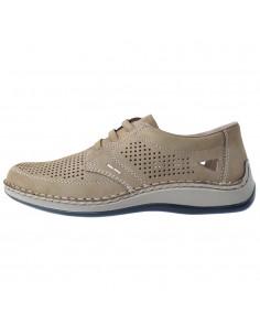Pantofi barbati, din piele naturala, marca Rieker, 05259-64-03-21-22, bej
