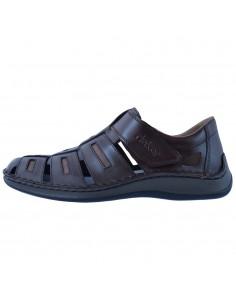Sandale barbati, din piele naturala, marca Rieker, 05288-25-02-21-22, maro