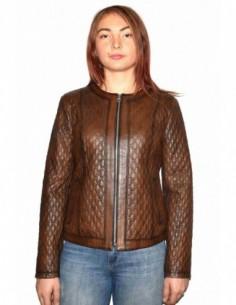 Haina dama, din piele naturala, marca Kurban, Chanel-16-95, maro