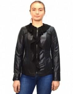 Haina dama, piele naturala, marca Kurban, Cod 24-01-95, culoare negru