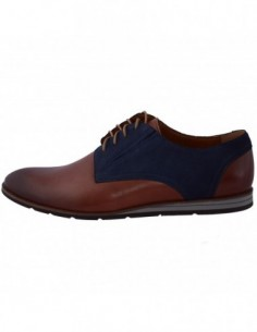 Pantofi barbati, piele naturala, marca Conhpol, Cod PBCD-1559S-04-D8-40, culoare coniac cu bleumarin