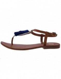 Sandale dama, din piele naturala, marca Gioseppo, 33274-16-12, coniac cu bleumarin