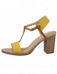 Sandale dama, piele naturala, marca Carla Sellini, Cod 557849-C9-120, culoare maro cu galben