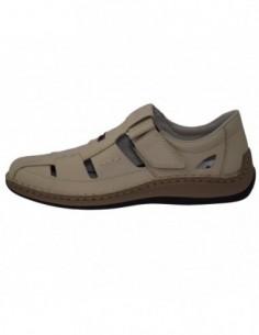 Pantofi perforati barbati, piele naturala, marca Rieker, Cod 05284-60-03-22, culoare bej