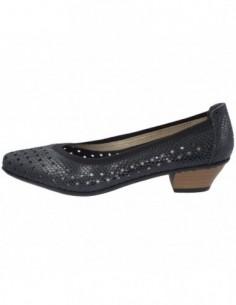 Pantofi perforati dama, piele naturala, marca Rieker, Cod 58065-14-42-22, culoare bleumarin
