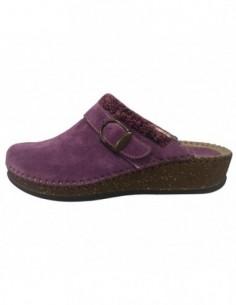 Papuci de casa dama, piele naturala, marca Walk, Cod 1124-16990-19, culoare mov