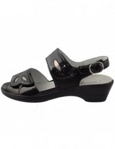 Sandale dama, din piele naturala, marca Waldlaufer, 445005-1, negru