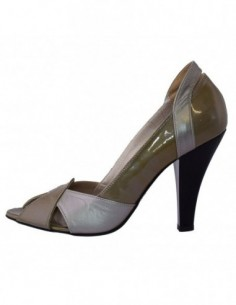 Pantofi decupati dama, din piele naturala, marca Perla, 2327-14, gri
