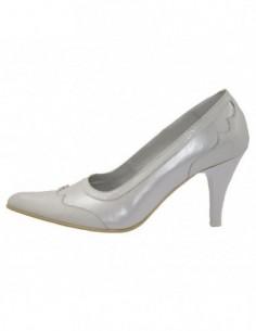 Pantofi dama, din piele naturala, marca Endican, B406-K2, alb satin