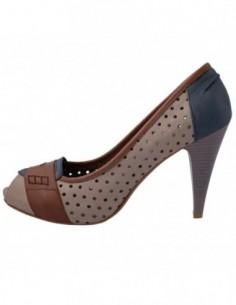 Pantofi decupati dama, din piele naturala, marca Le Scarpe, 235-35, bej cu bleumarin