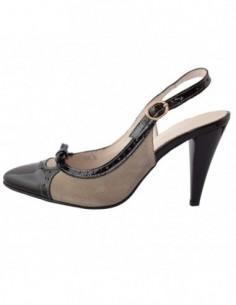 Pantofi decupati dama, din piele naturala, marca San Savana, 415-65, negru cu crem