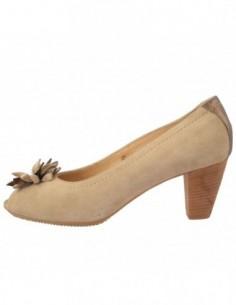 Pantofi decupati dama, piele naturala, marca Johnny, Cod 67240-3, culoare bej