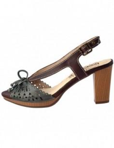 Sandale dama, din piele naturala, marca Pikolinos, 885-9443-06-17-21, verde cu maro