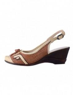 Pantofi decupati dama, din piele naturala, marca Endican, 902-3, bej