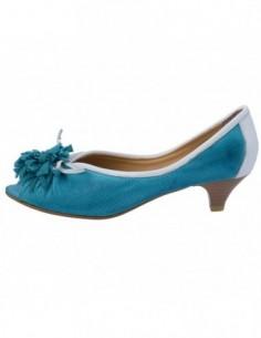 Pantofi decupati dama, piele naturala, marca Le Scarpe, Cod 902-43, culoare turcoaz
