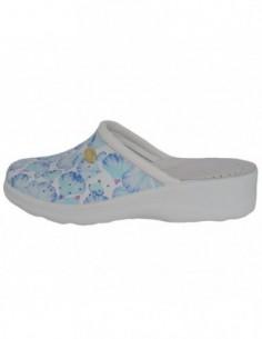 Saboti medicinali dama, piele naturala, marca Daco, Cod 10BLUE-18-77-90, culoare alb cu flori