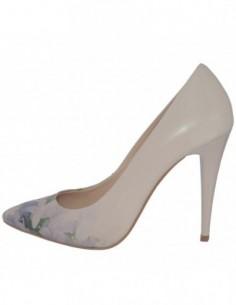 Pantofi dama, piele naturala, marca Botta, Cod 632-18-75-05, culoare bej cu flori