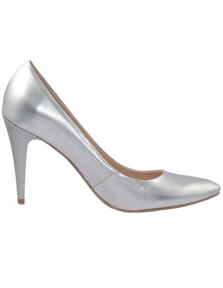 Pantofi dama, din piele naturala, marca Botta, 428-18-18-05, argintiu